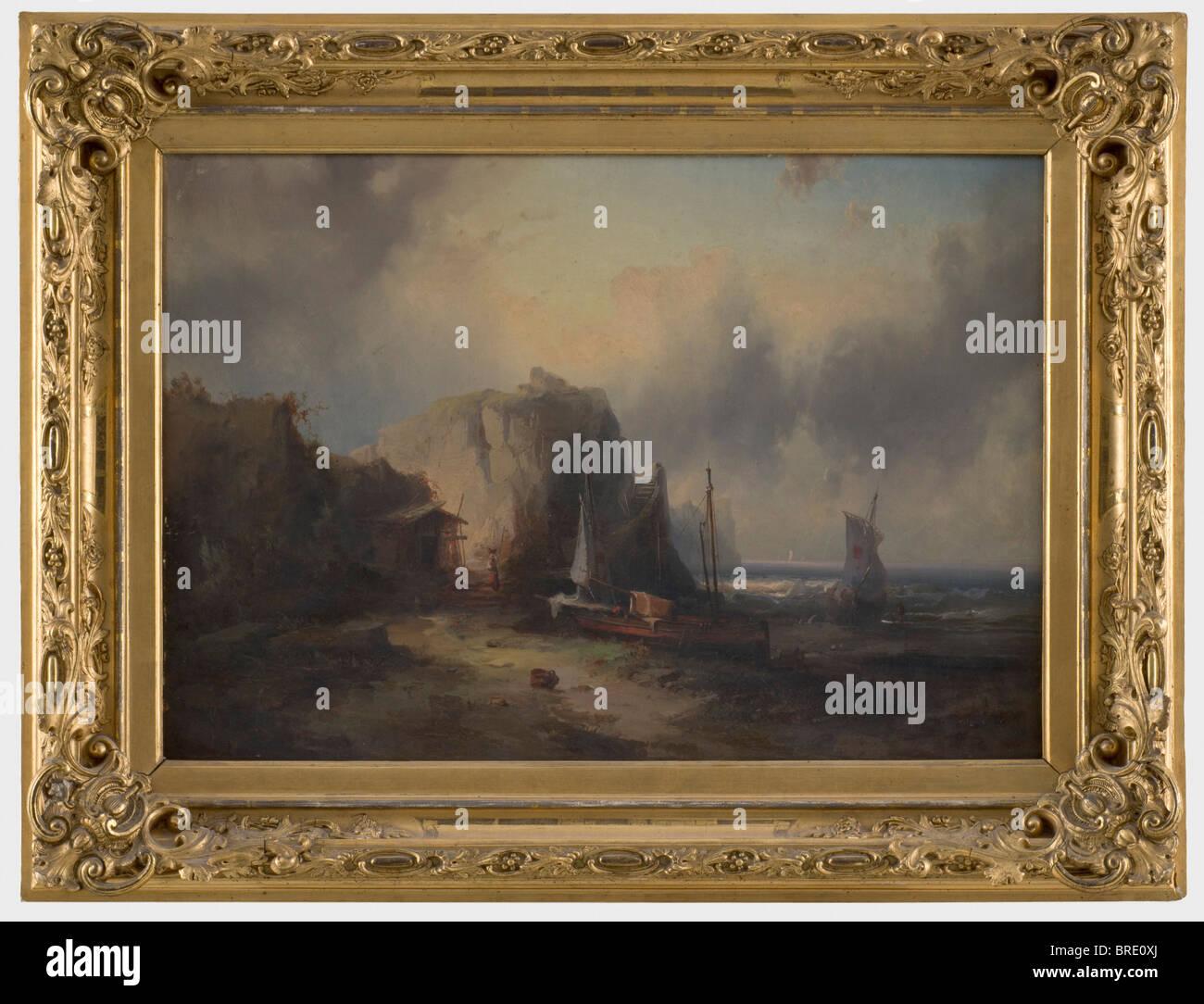 Sturm an der Südküste Italienisch, ein romantischer Malerei, ca ...