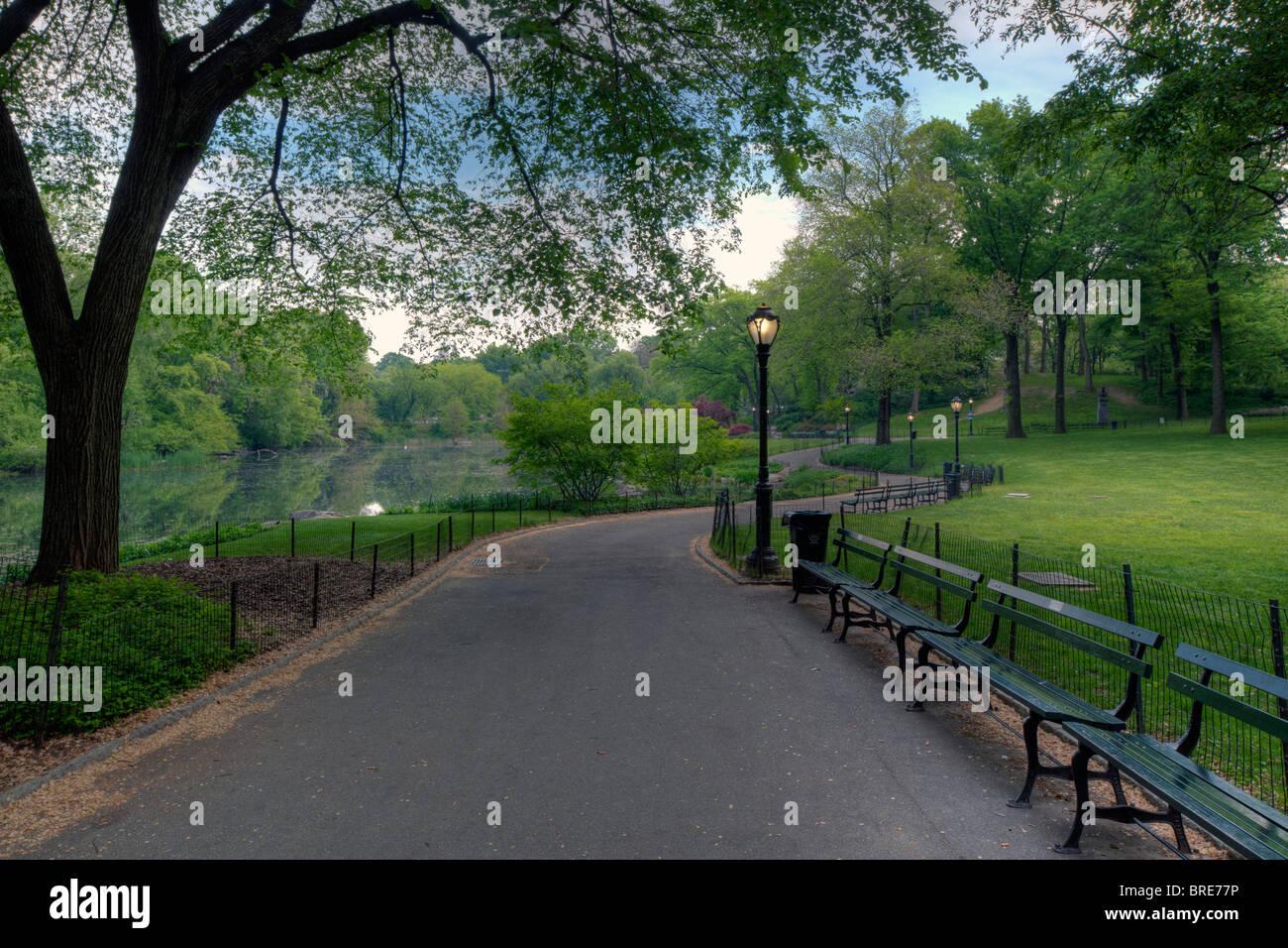 Am frühen Morgen auf dem Bürgersteig im Central Park Stockbild