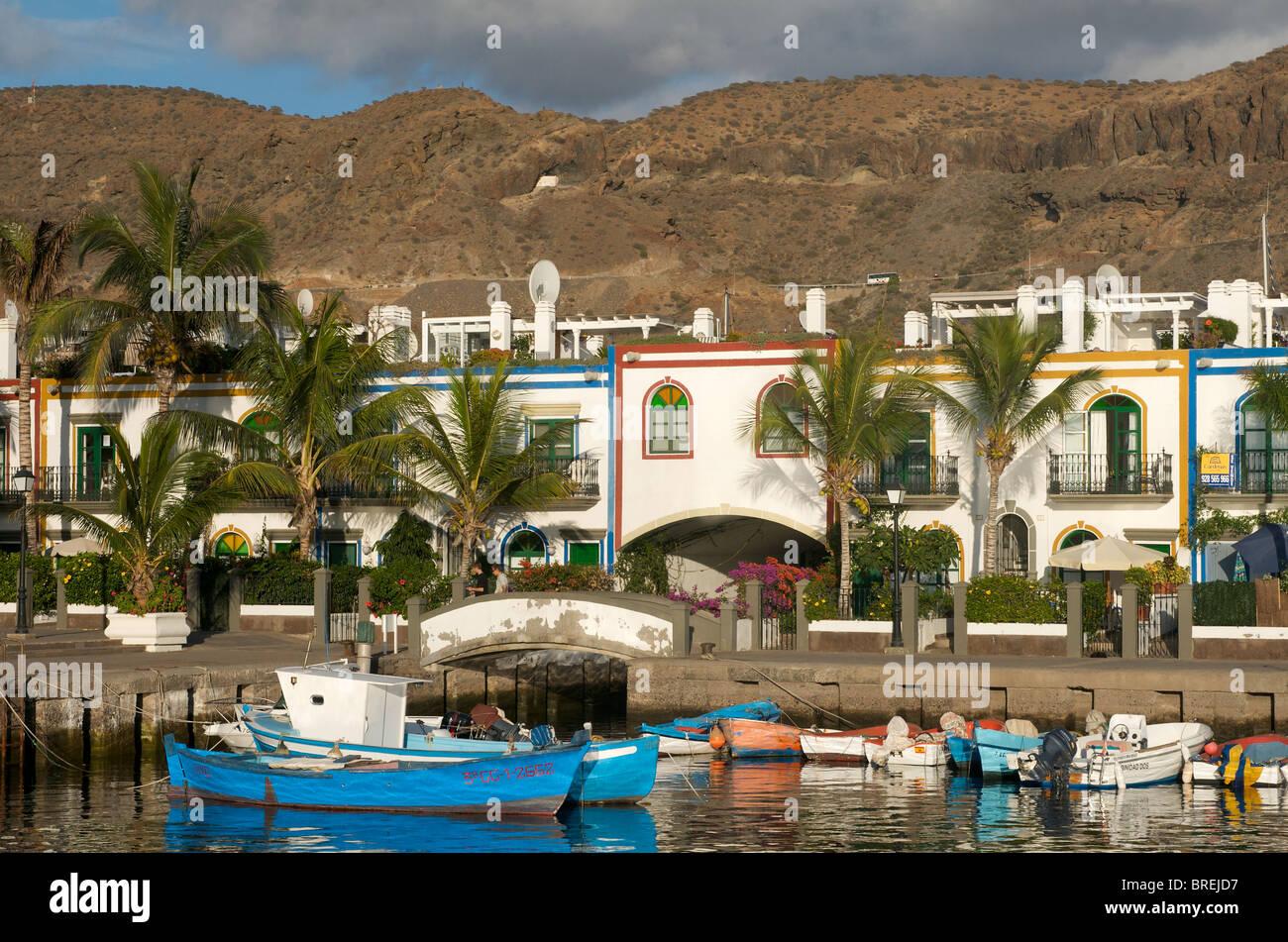 Angelboote/Fischerboote in Puerto Mogan, Gran Canaria, Kanarische Inseln, Spanien Stockbild