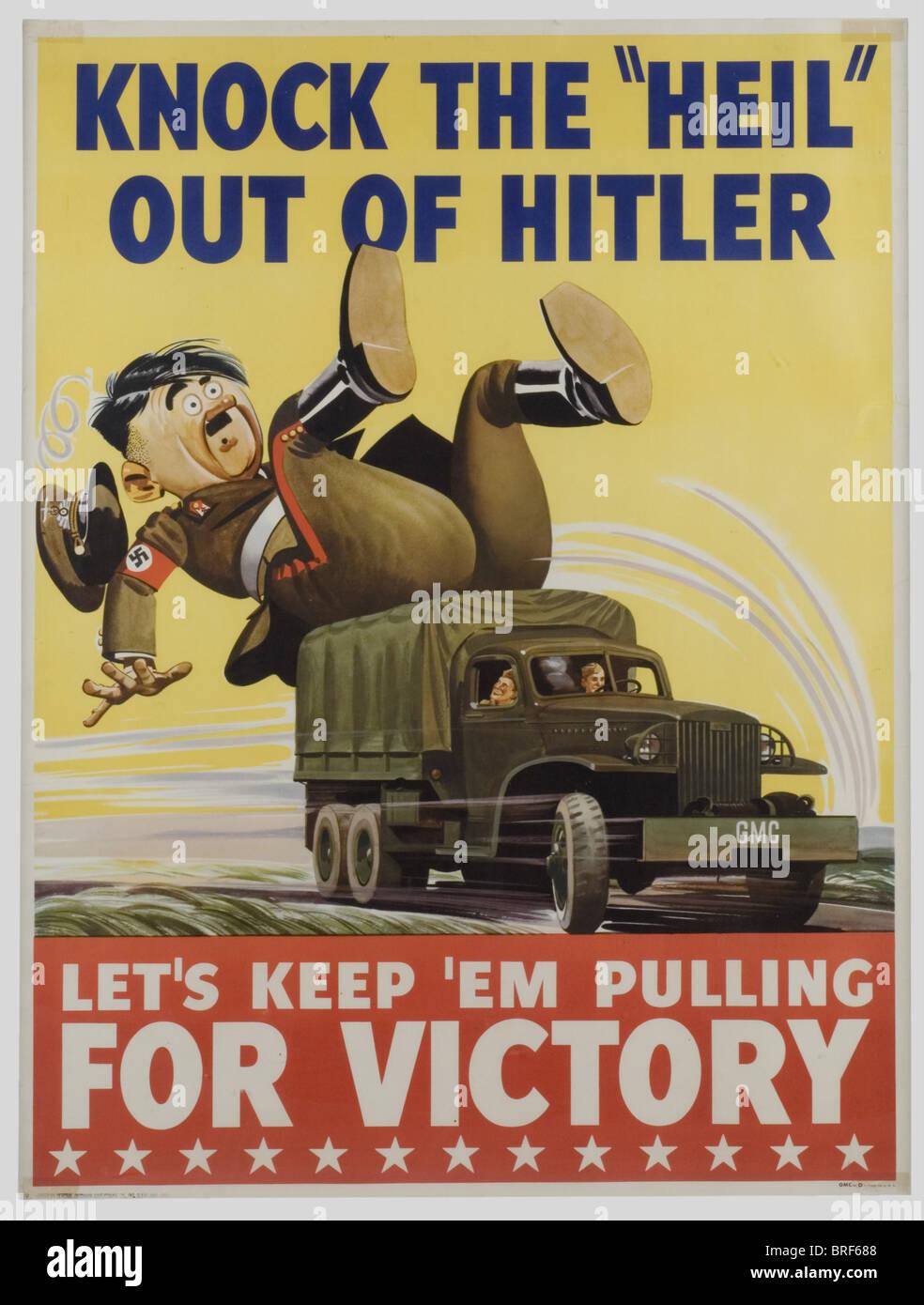 Ein US-Farbe-Poster, klopfen die Heil aus Hitler, Größe 120 x 82 cm ...