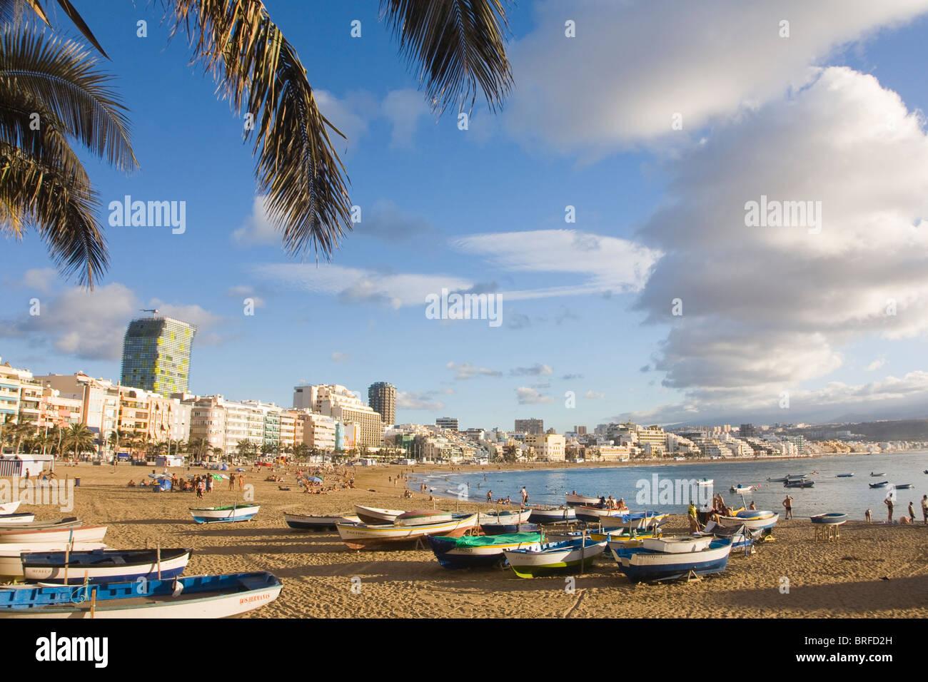 Golden Sand Las Canteras Strand in Las Palmas de Gran Canaria, Spanien Stockbild