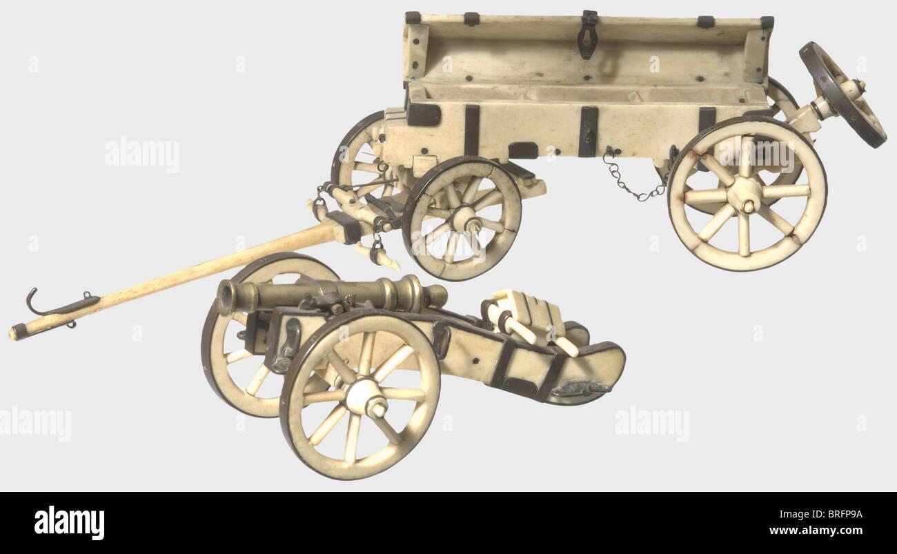 Ein Modell Cannon mit einem senkkasten, circa 1810. Mit Kupfer Beschläge Knochen, in sehr feine Details. Alle Stockbild