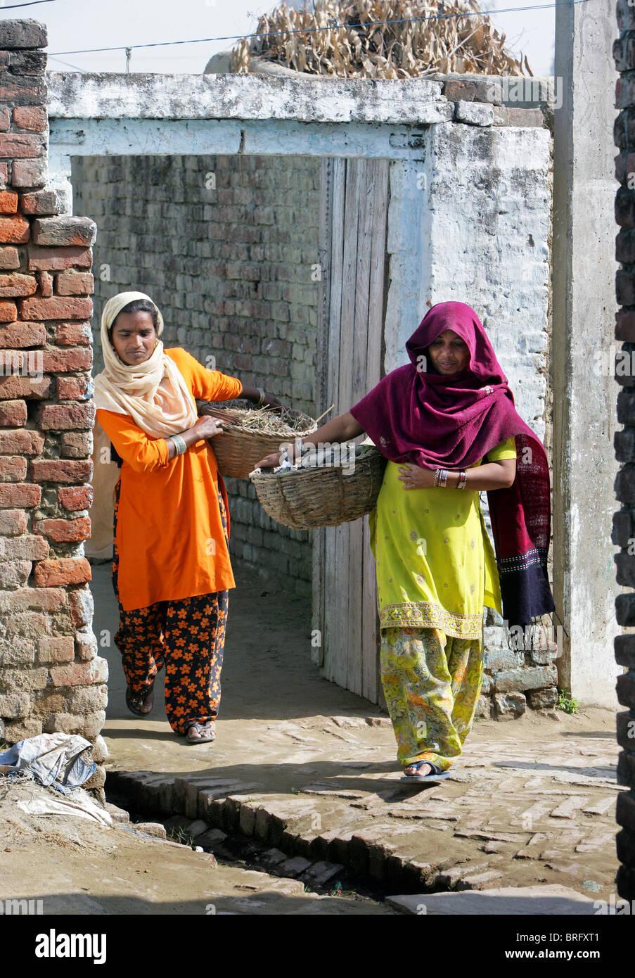 Dalit-Frauen aus der Besetzung der Unberührbaren arbeitet als Scavangers, Reinigung von menschlichen Exkrementen. Stockbild