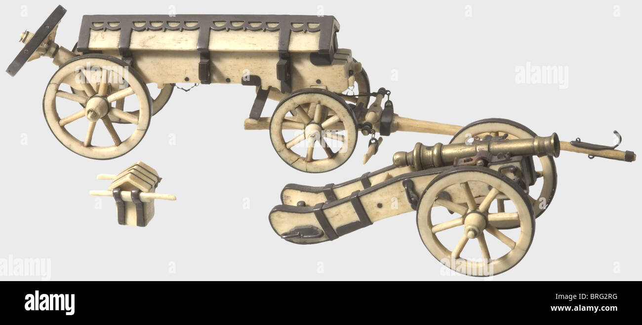 Eine Modell-Kanone mit einem Caisson, um 1810. Knochen Sie mit Kupfer Fittings, sehr fein detailliert aus. Alle Stockbild