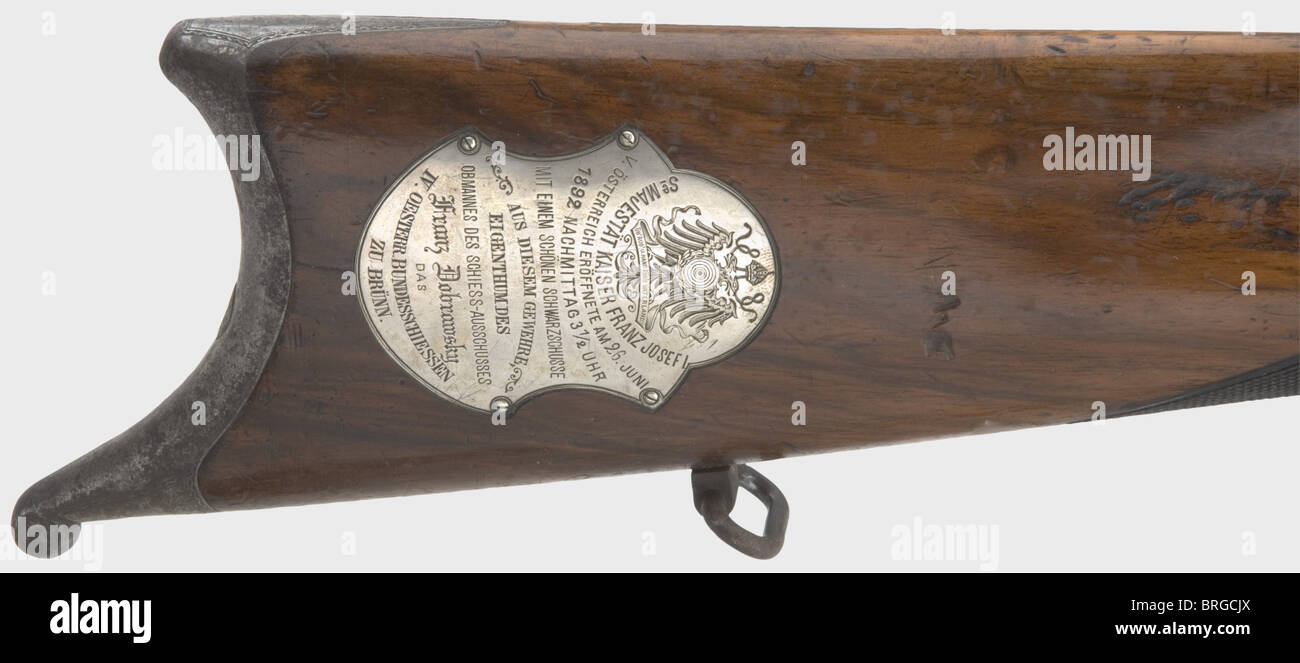 """Ein """"Feuerstutzen"""", Martini, Meffert Suhl, circa 1890. Kaliber 8 mm, ohne Nummer. Fertige Fass mit hellen Stockbild"""