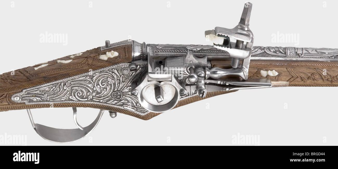 Eine Wheellock Pistole, eine Nachbildung einer Pistole Suhl von ca. 1615. Glatten Bohrung Lauf im Kaliber 12,5 mm Stockbild