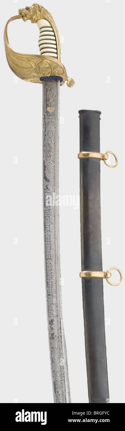 Ein schönes Schwert für einen Offizier des 1. Meer Bataillons, Kapitän Gandenberger von Moisy anlässlich Stockbild