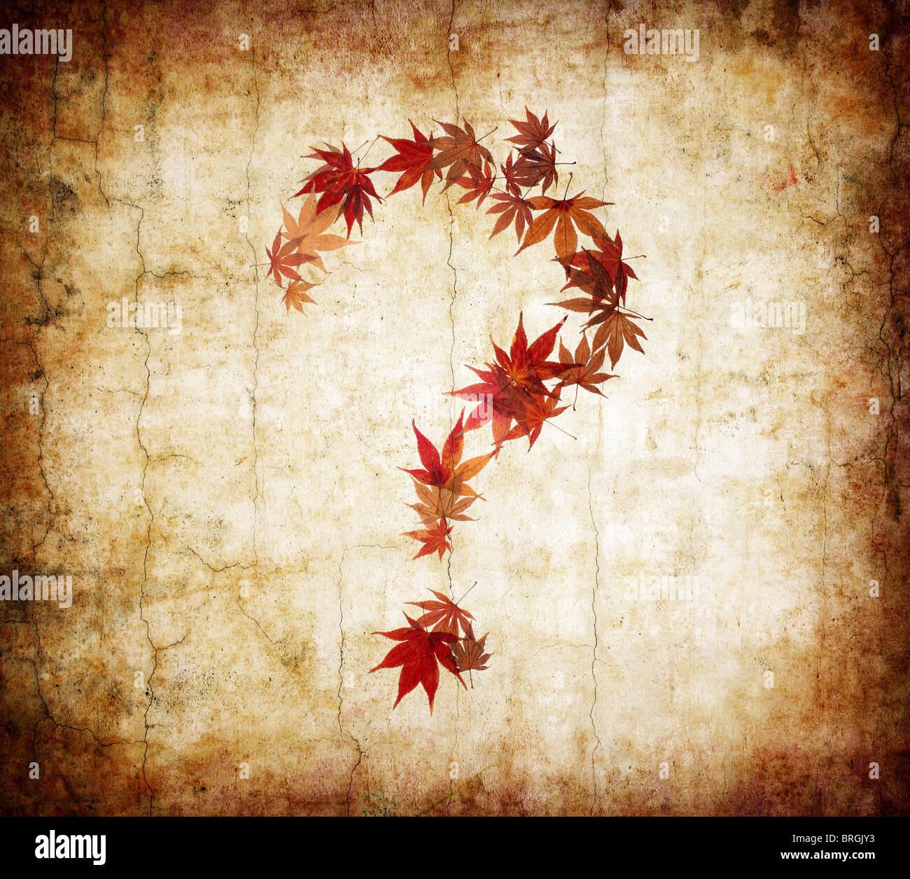 Grunge Hintergrund mit Fragezeichen gemacht durch Blätter Stockbild