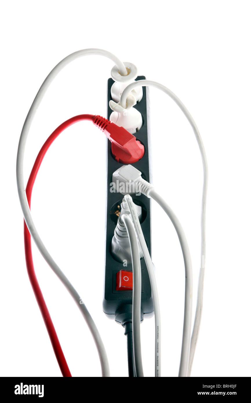 Charming Haus Elektrik, Stromversorgung, Multi Steckdosen, Elektrische Kabel,  Stecker. Stockbild