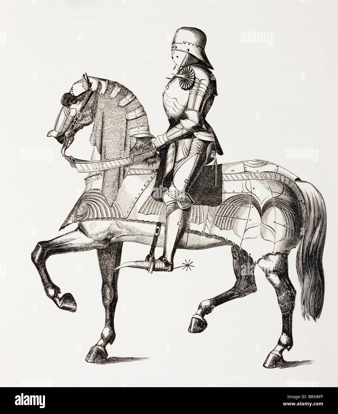 15. Jahrhundert Ritter in voller Rüstung auf Pferd, gekleidet in Rüstung montiert. Stockbild
