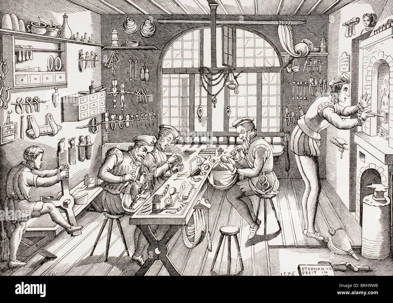 Étienne Delaune, französischer Goldschmied, c. 1519-1583. Interieur von seiner Werkstatt. Stockbild