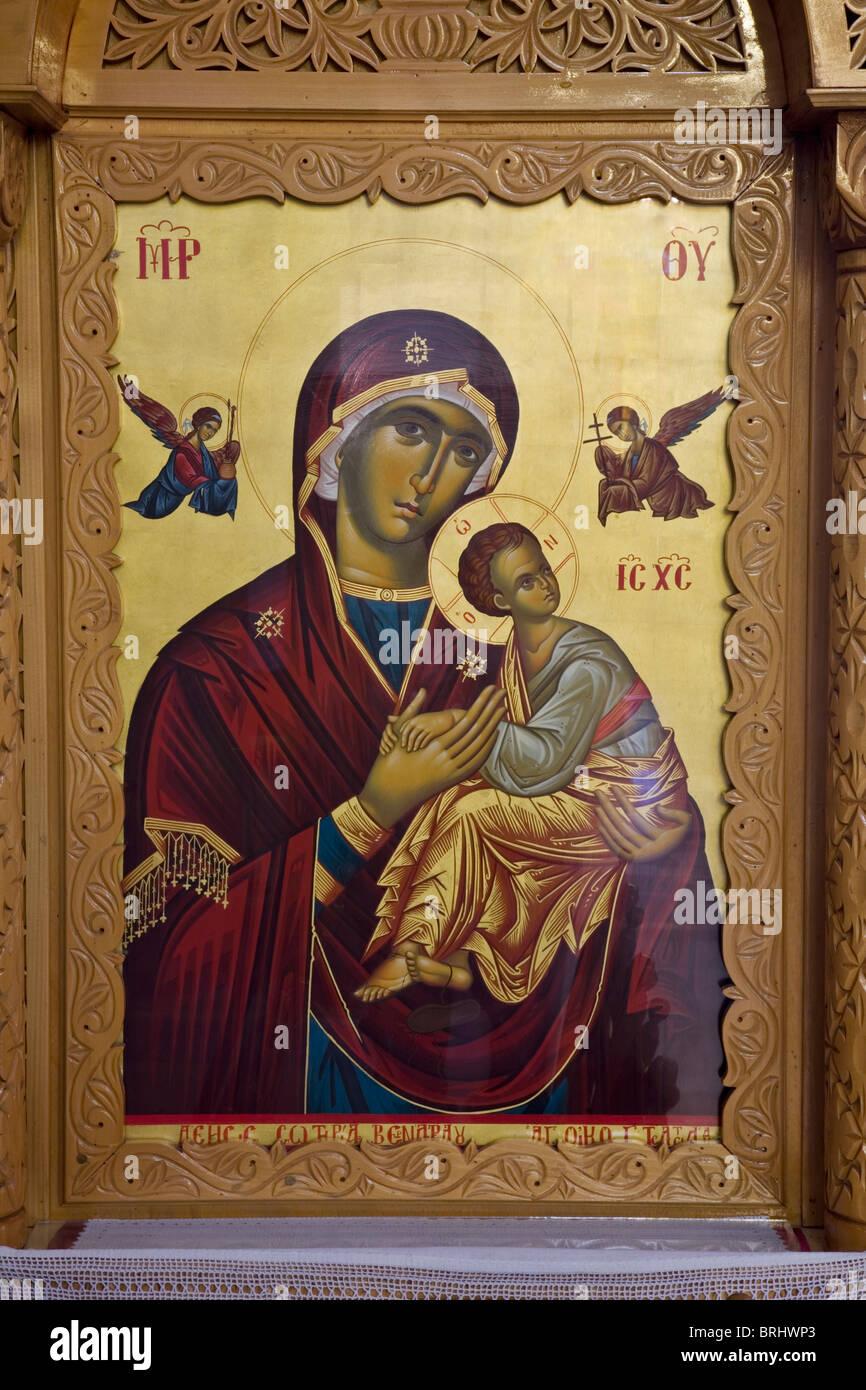 Aureole christlichen Christentum Rahmen Gott Griechenland griechische Kopf halten Bild Liebe Madonna Mutter orthodoxe Stockbild