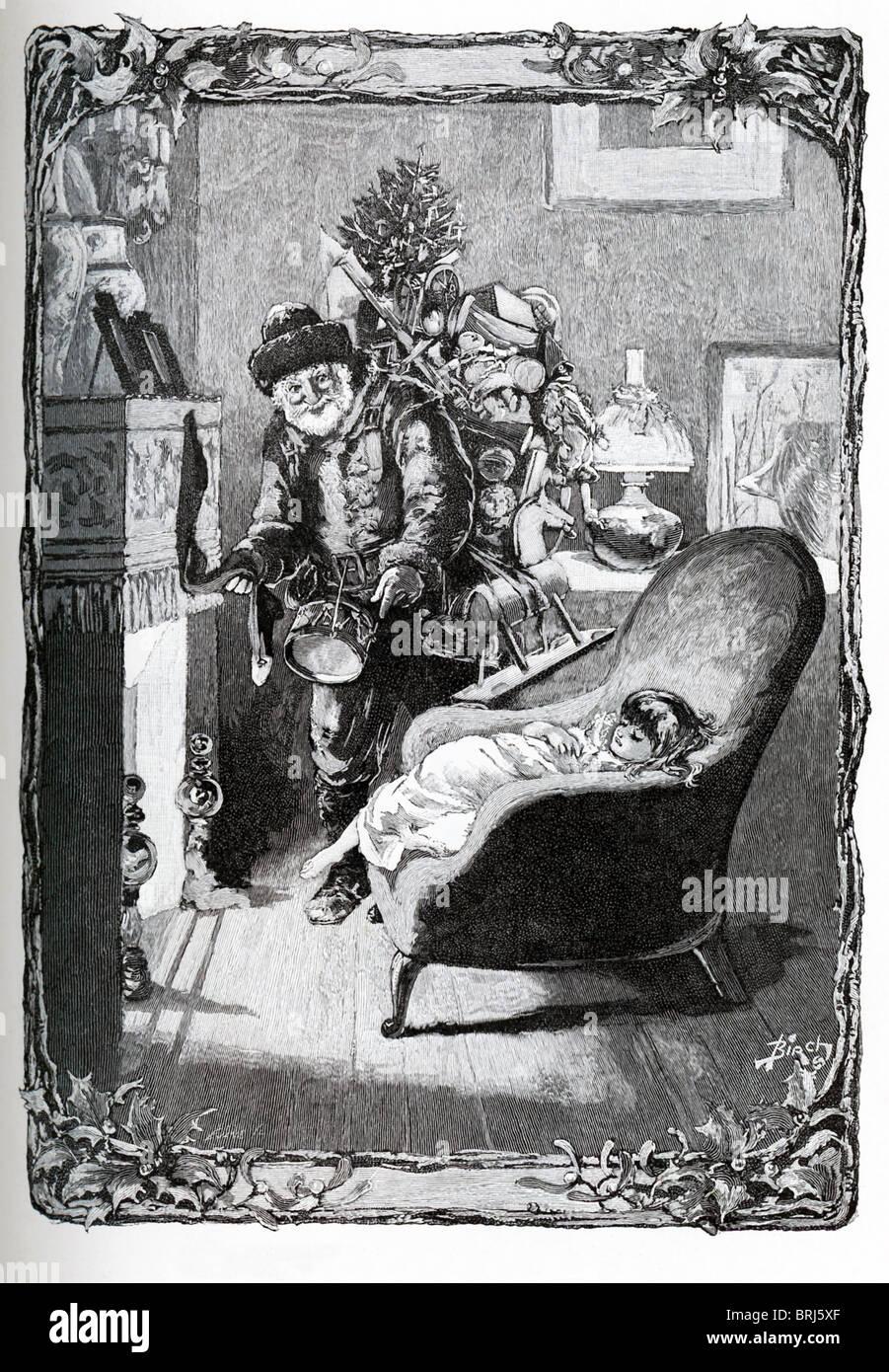 Diese Illustration von Santa Claus Halt an das Haus eines jungen Mädchens am Heiligabend ist von St. Nikolaus, Stockbild