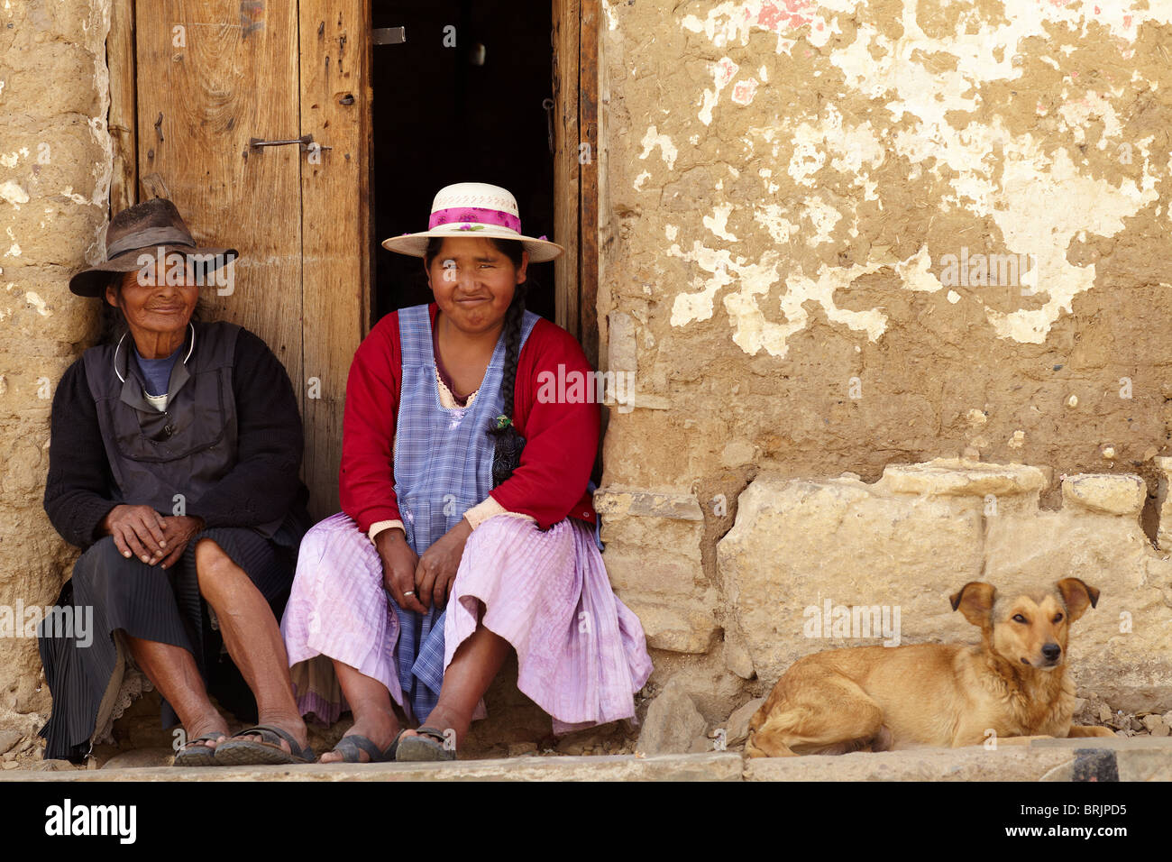 Einheimischen auf dem Markt von Tarabuco, Bolivien Stockbild