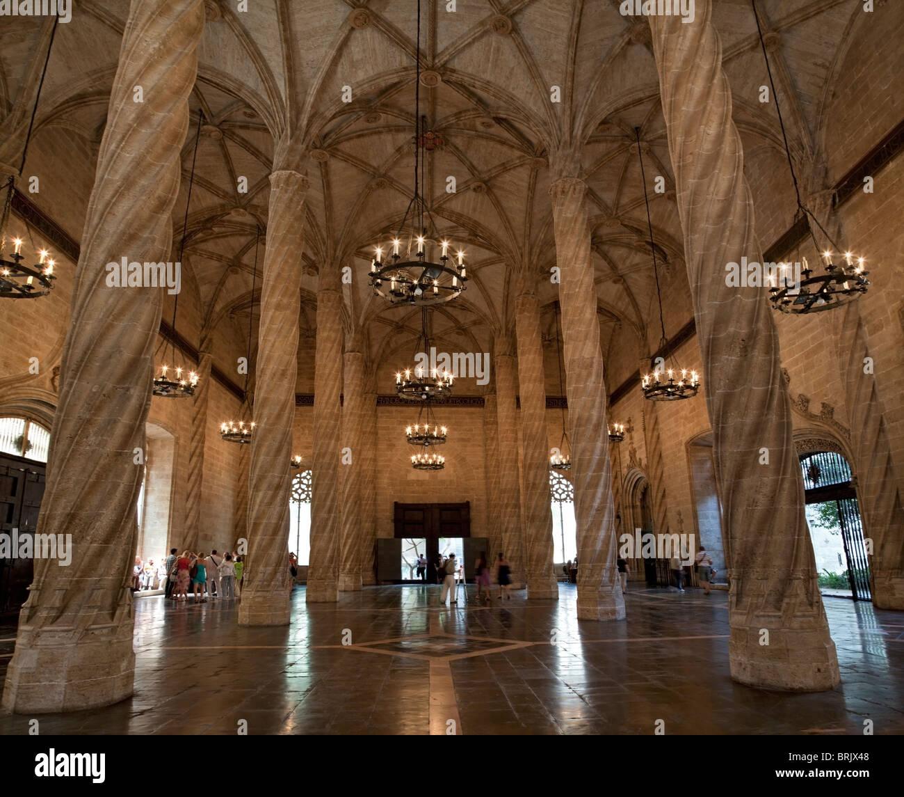 Valencia Seide Börsengebäude, Vertrag, Hall, World Heritage, Decke ...