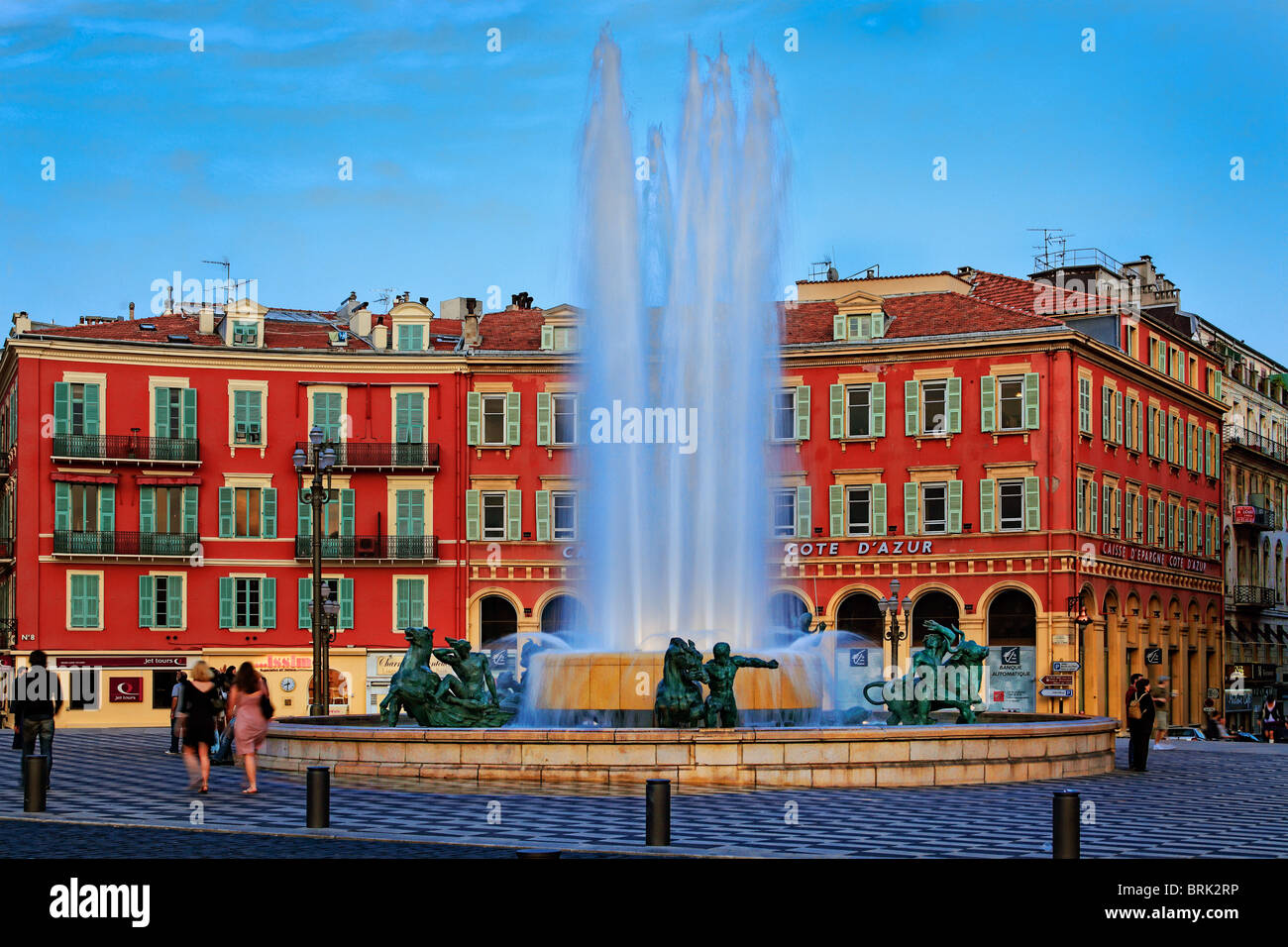 Brunnen am Place Massena in Nizza, Frankreich Stockbild