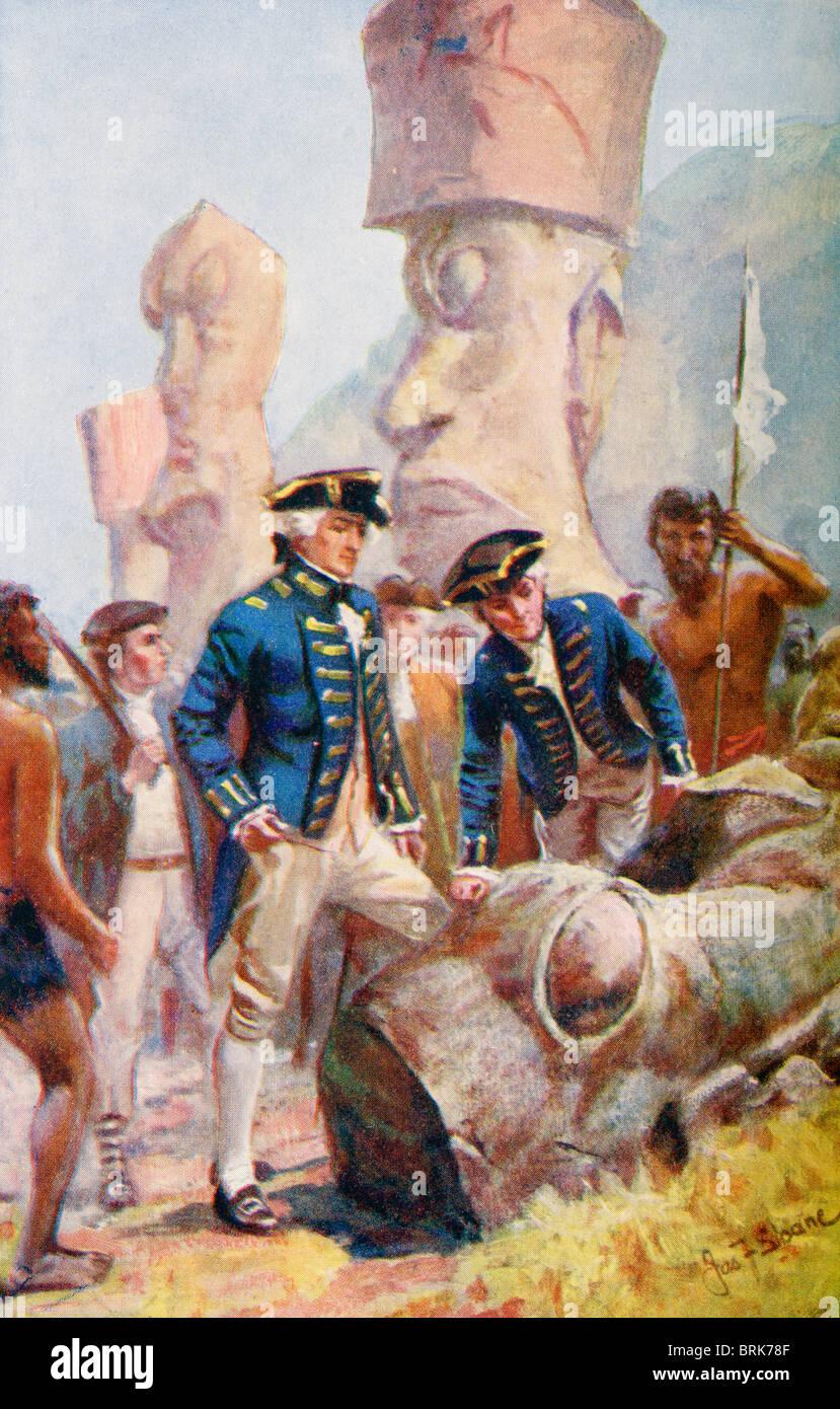 Kapitän James Cook die Prüfung der Statuen auf der Osterinsel. Kapitän James Cook, 1728 - 1779. British Explorer, Stockfoto