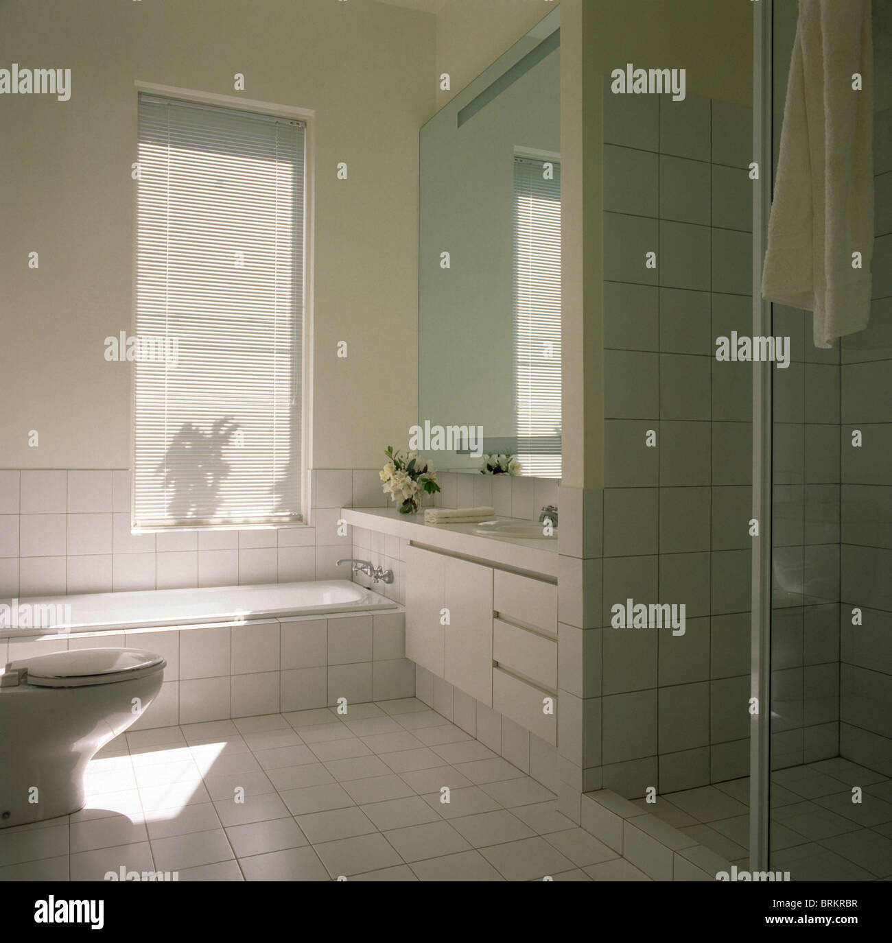 Bad unter Fenster in modernen weiß gefliestes Badezimmer Stockfoto ...