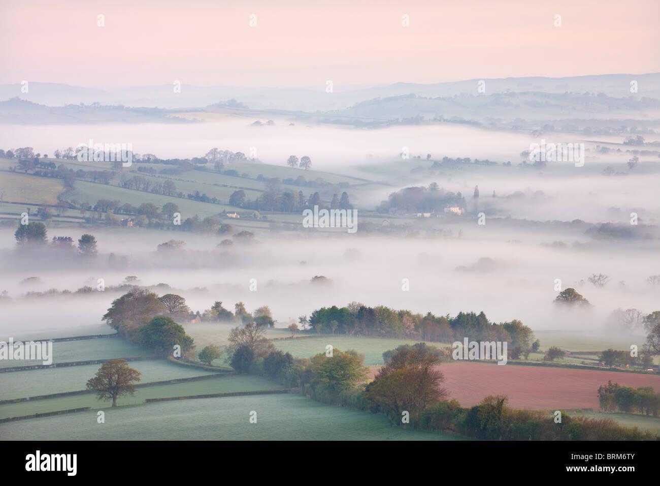 Nebel bedeckte Landschaft in der Dämmerung in der Nähe von Pennorth, Brecon Beacons National Park, Powys, Stockbild