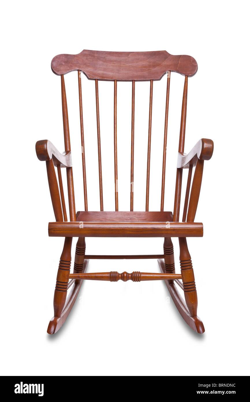 Holz Schaukelstuhl isoliert auf weißem Hintergrund mit leichten Schatten Stockbild