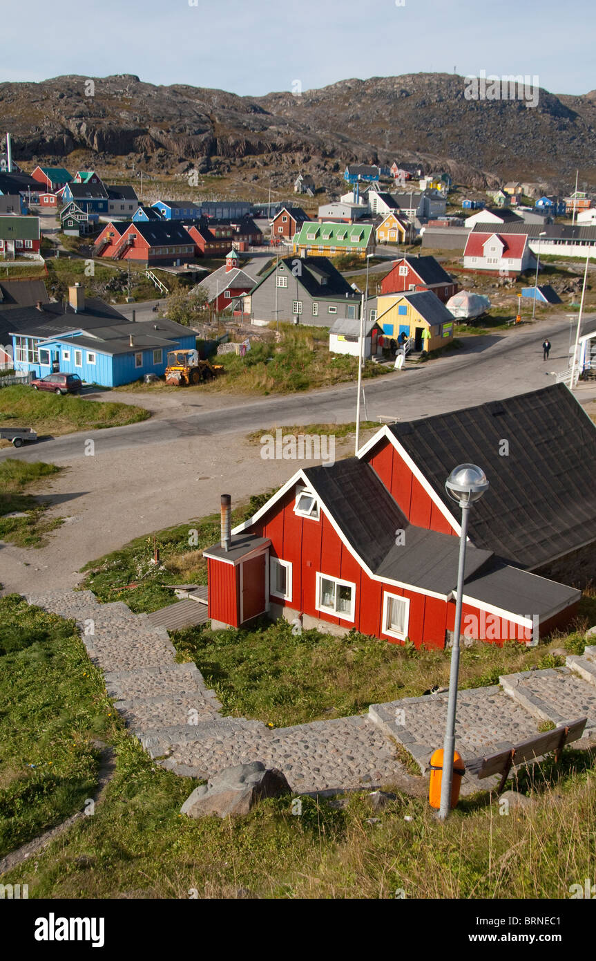 Grönland, Qaqortoq. Süd-Grönland größte Stadt mit fast 3.000 Einwohnern. Überblick Stockbild