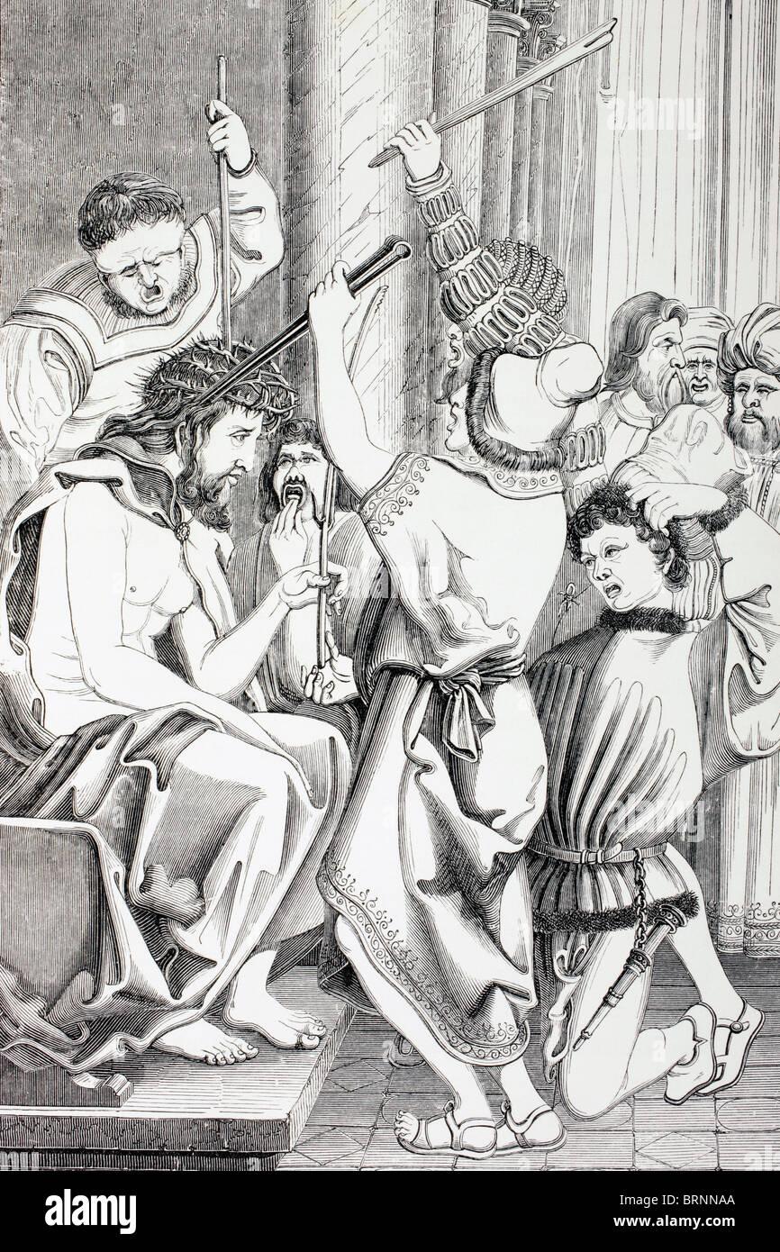 Jesus Christus gequält und mit Dornen gekrönt Stockbild