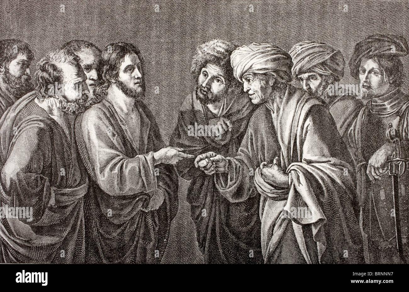 Und beantwortet Jesus sprach zu ihnen: Rendern Caesar das, was dem Kaiser gehört, und Gott die Dinge, die sind Stockbild