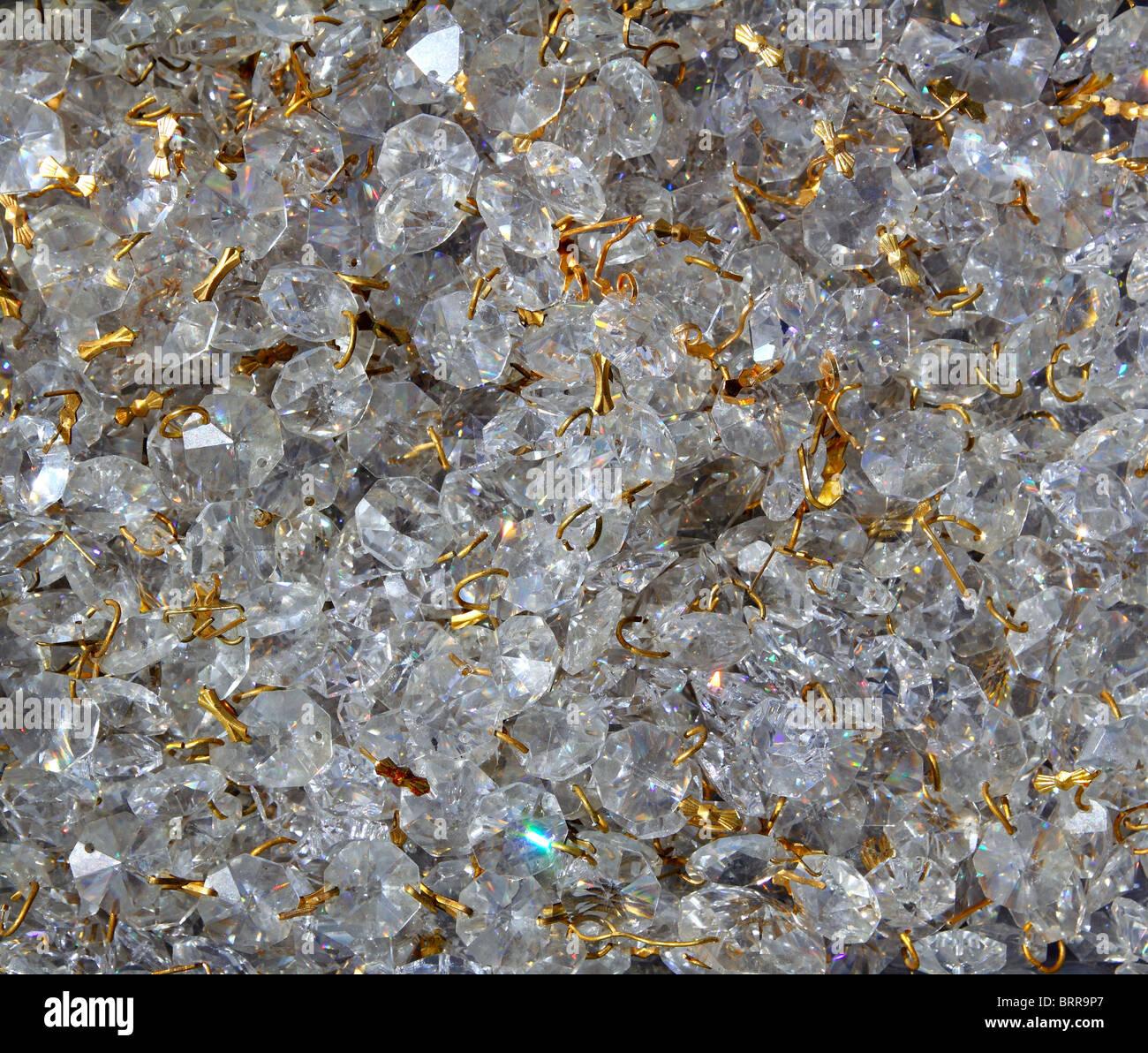 Strass transparentem Glas Schmuck Muster Textur goldenen Draht ...