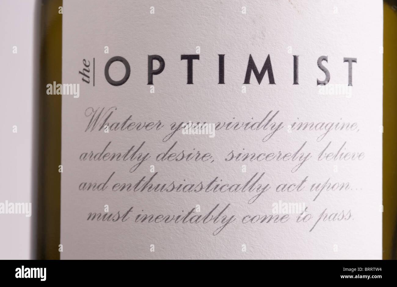 die Marke Optimist Weinflasche Label Stockbild