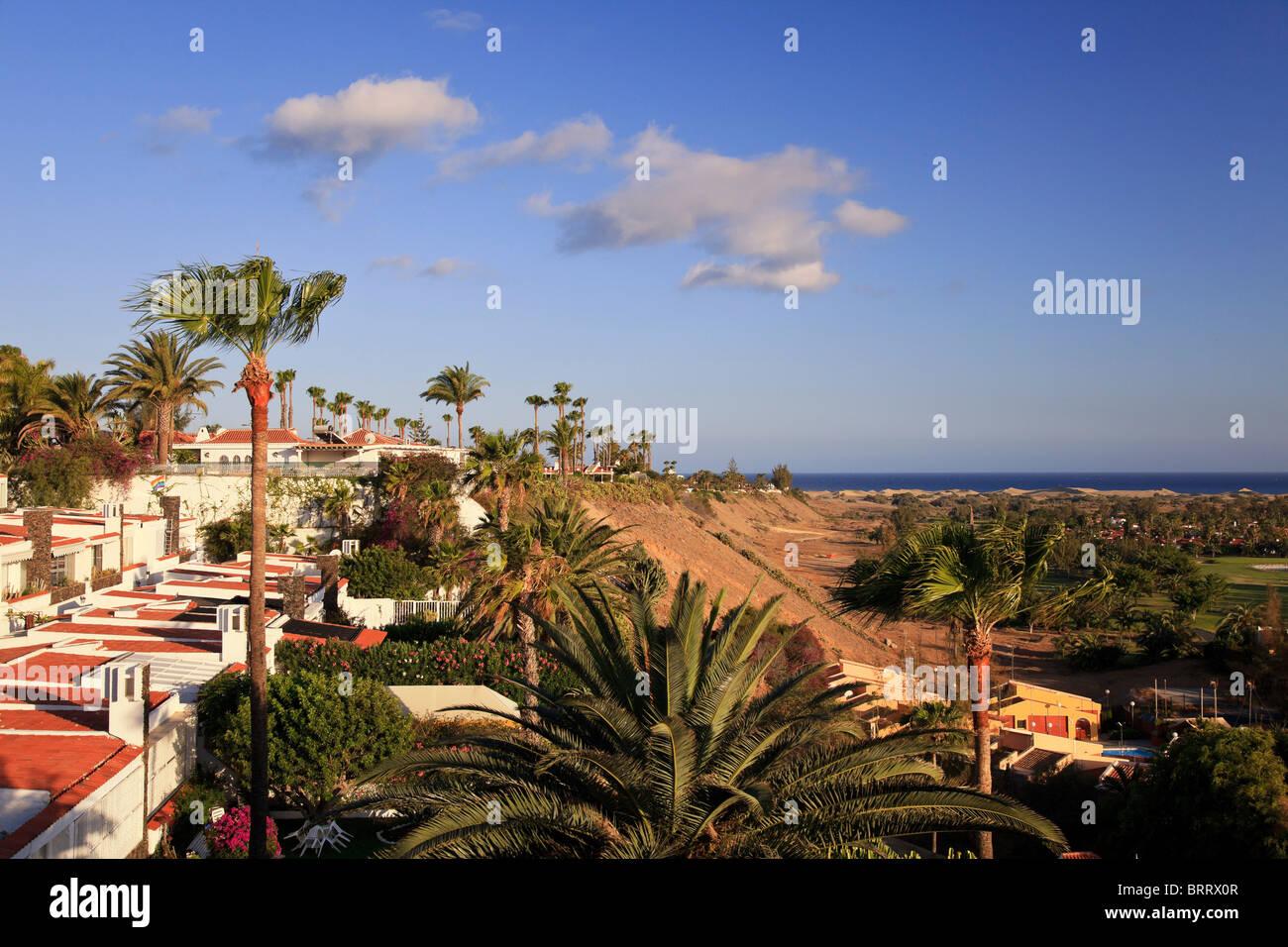 Kanarische Inseln, Gran Canaria, Blick auf Playa del Ingles und Maspalomas Resorts Stockbild