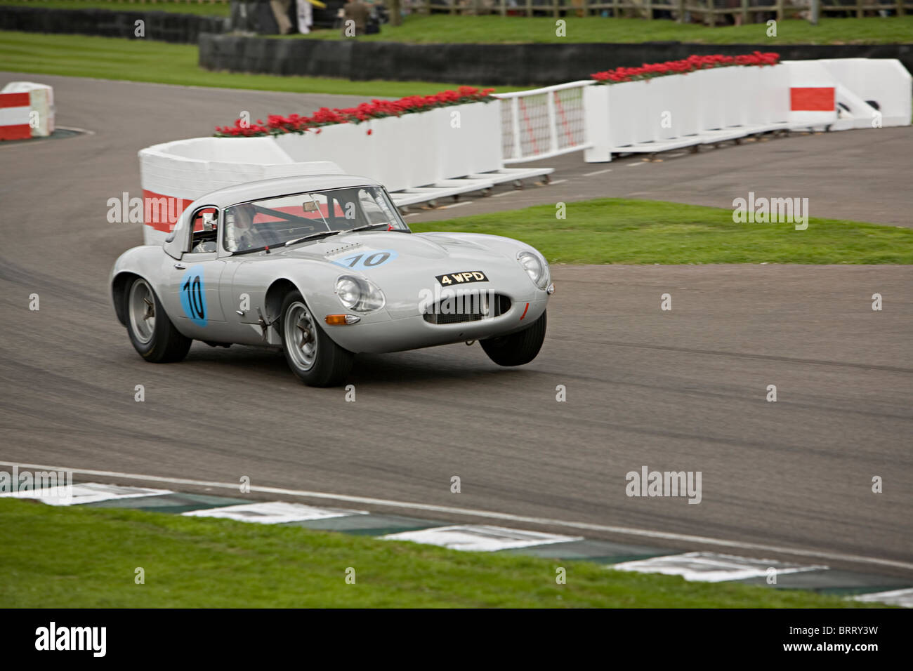 Jaguar E-Type-Rennen in Goodwood Revival 2010 Stockbild