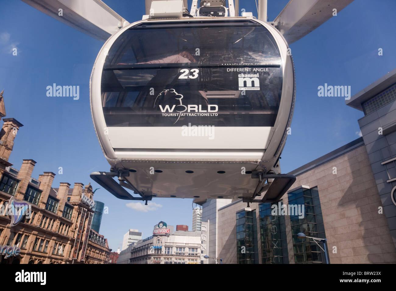 Anchester, England, UK. Blick von der Wheel of Manchester Kapsel Stockbild