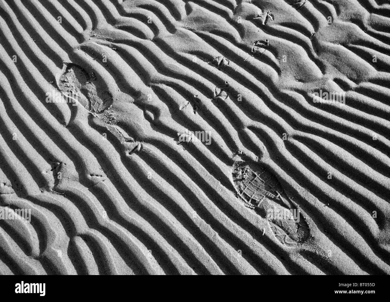 Schuhabdrücke auf weichen Sand am Strand Stockbild