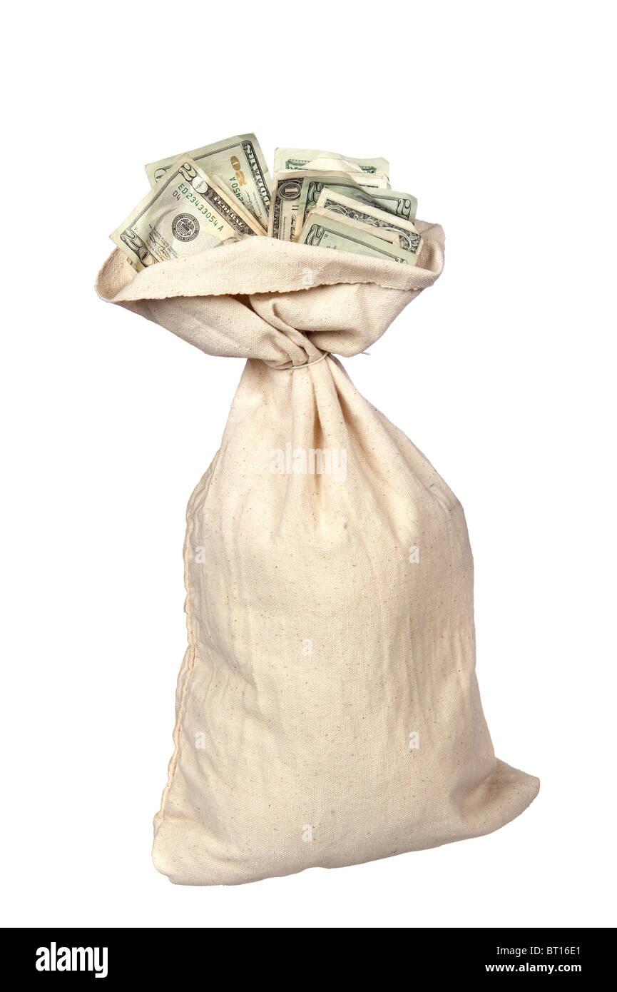Einem Leinensack von Bargeld auf einem weißen Hintergrund. Stockfoto