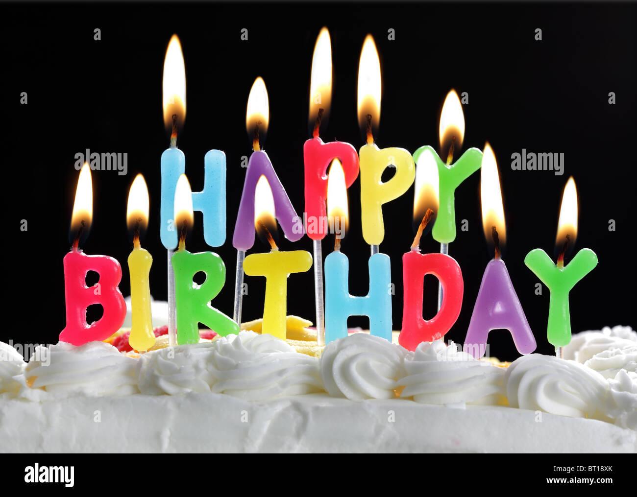 Herzlichen Gluckwunsch Zum Geburtstagskerzen Auf Der Torte Stockbild