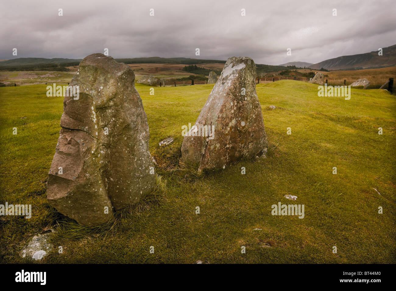 Die Moss Farm Road Menhire und Buriel Cairn Machrie, Isle of Arran, Scotland, UK Stockfoto