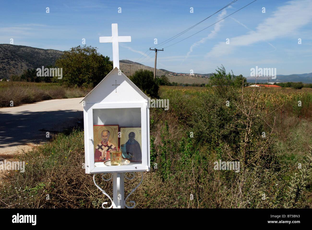 Bildstock in der Nähe von Rodotopi in der Region von Ioannina von Epirus, Griechenland. Stockbild