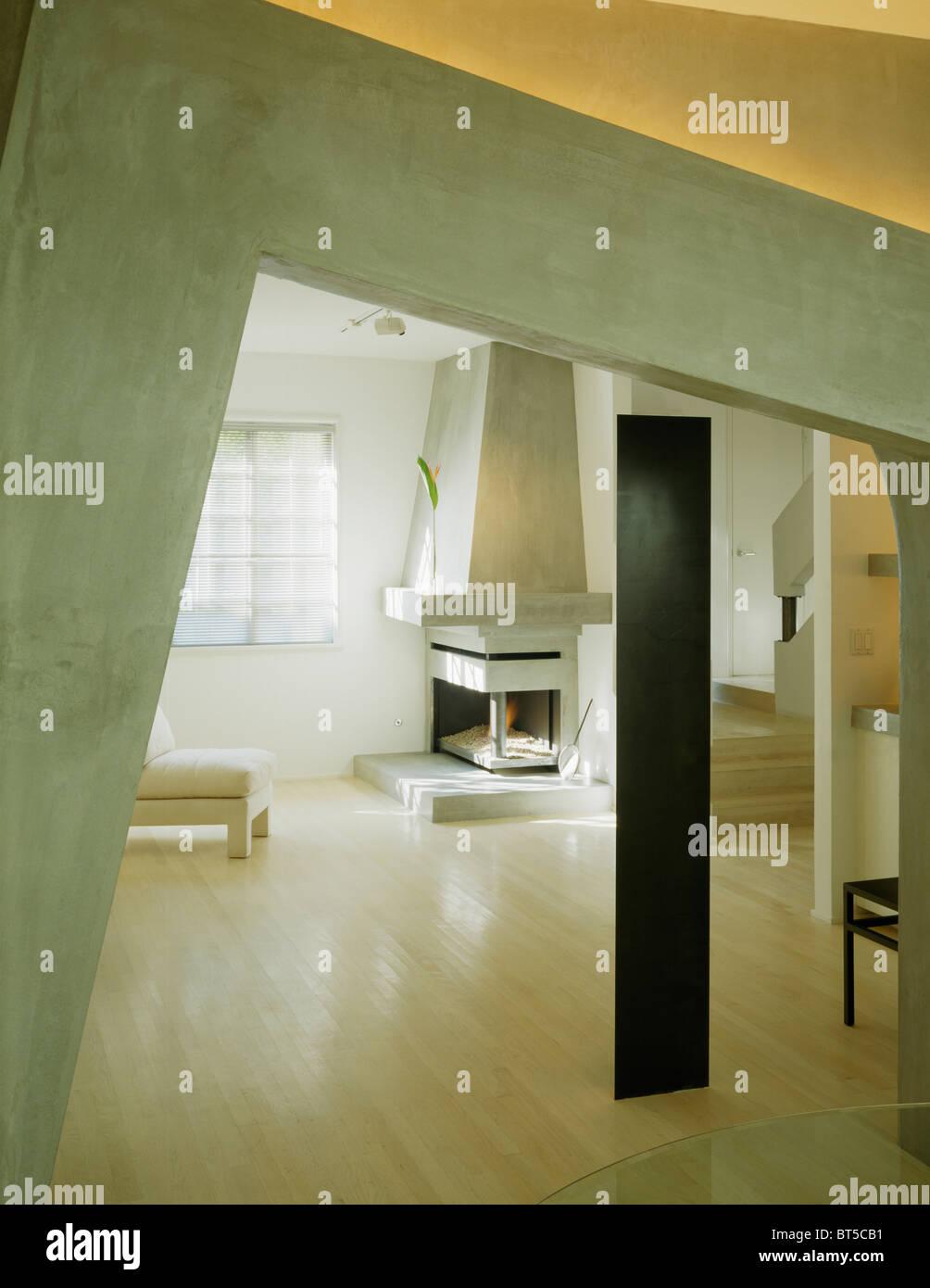 Zement Putz Bogen Mit Stuck Im Modernen Wohnzimmer Gebleichte Eiche
