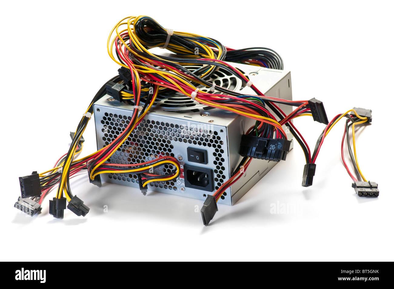 Computernetzteil isoliert auf weiß Stockbild
