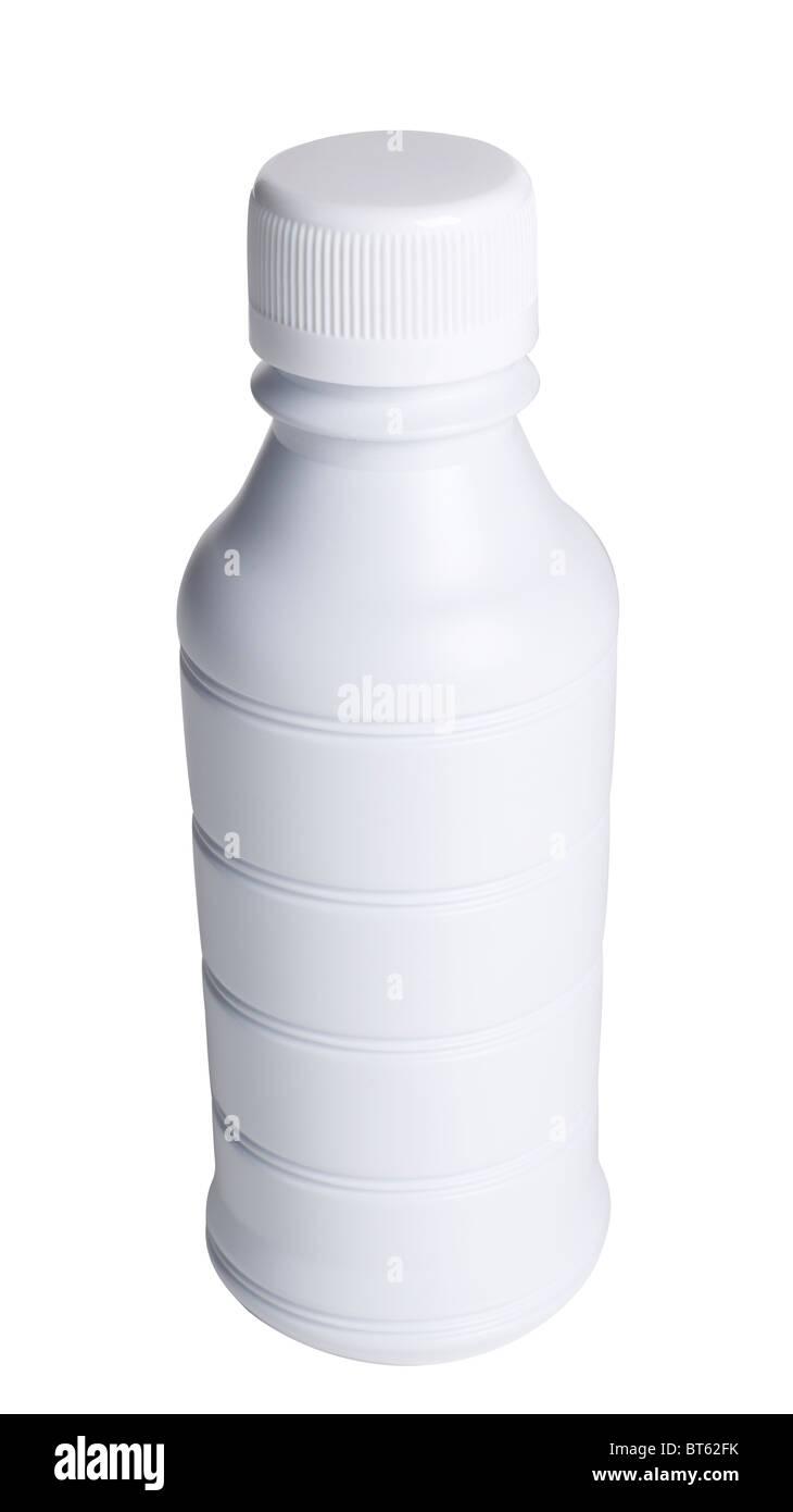 Weiße Kunststoff-Flasche Stockbild