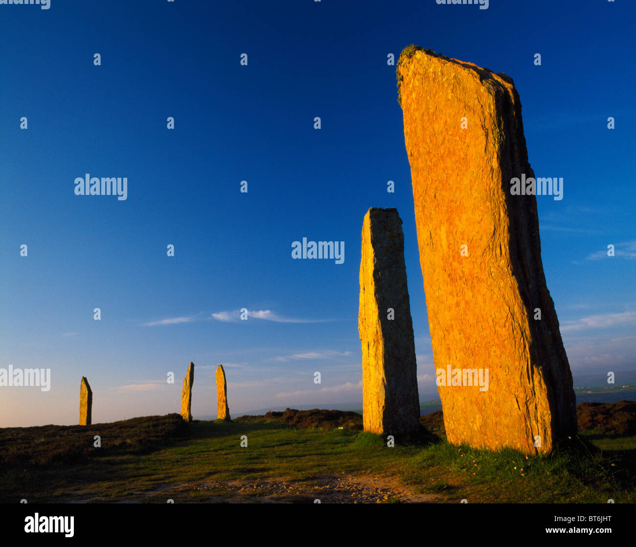 Der Ring of Brodgar, Orkney Inseln, Schottland, Vereinigtes Königreich, UNESCO-Weltkulturerbe, alten megalithischen Stockbild