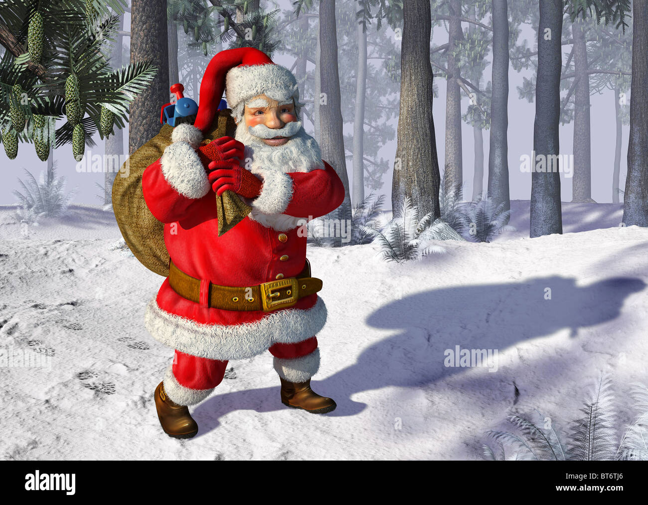 Santa Claus mit Tasche voller Spielsachen, zu Fuß auf einer schneit Landschaft Stockbild