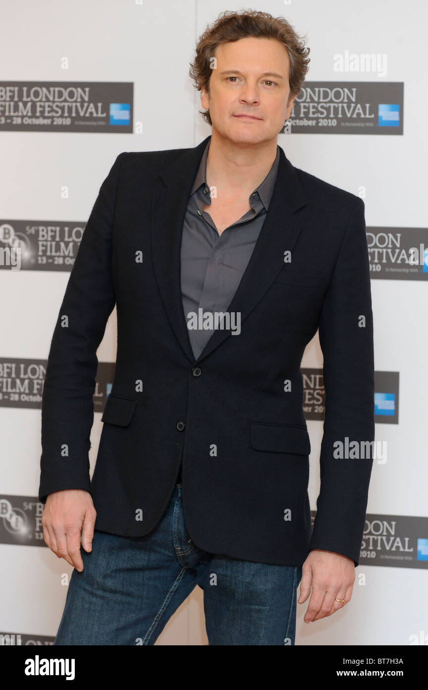 Colin Firth besucht des Königs Rede Fototermin im VUE, London, 21. Oktober 2010. Stockbild