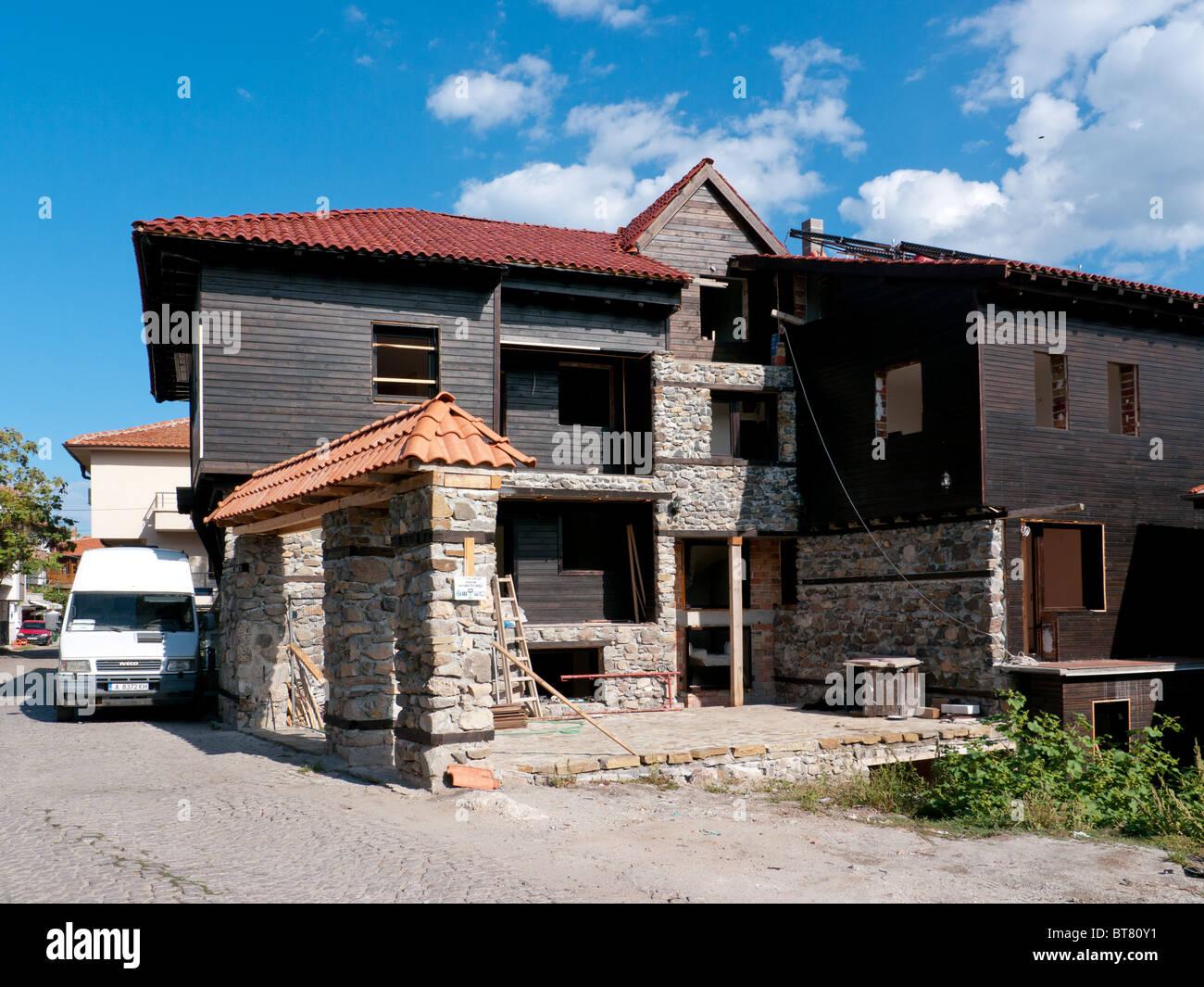 Traditionelles Haus Mit Stein Basis Und Hölzernen Obergeschoss, Nessebar,  Bulgarien.