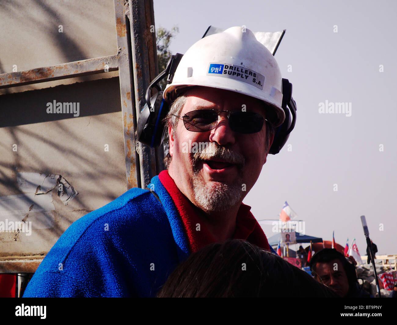 Reportage-33 Bergleute Chile, Mina San José Mine Rescue Chile.Gregory Hall war ein Held. Stockbild