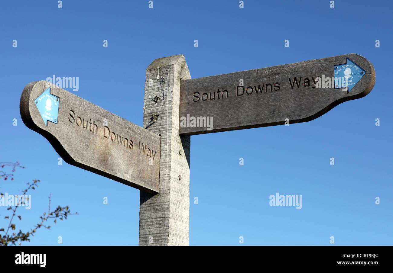 South Downs Way finger post Reitweg Zeichen Stockbild