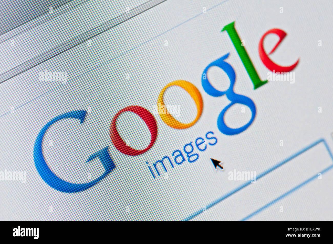 Screenshot von Homepage der Google Bilder Suche website Stockbild