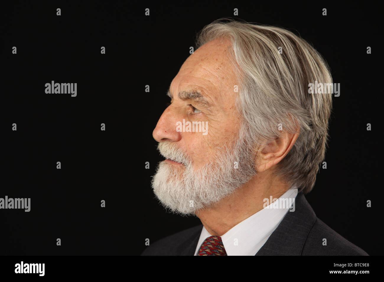 Profilbildnis von bärtigen und grauen Haaren senior Geschäftsmann in Anzug und Krawatte, Studio gedreht, Stockbild