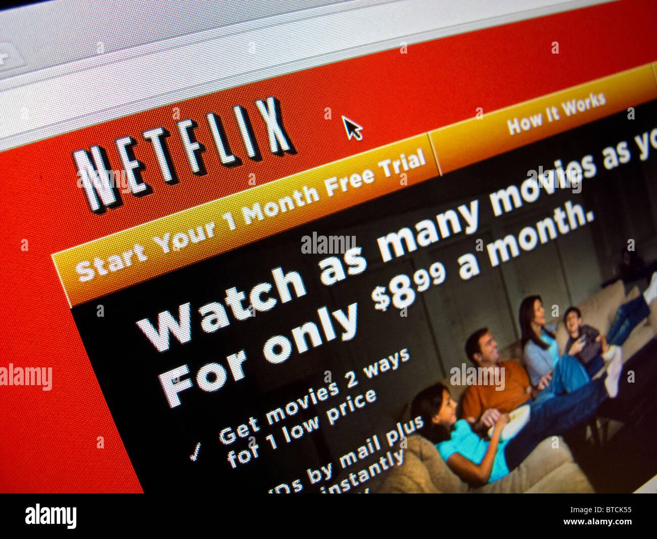 Detail der Screenshot von Netflix-Film-Entertainment-Internet-Internet-homepage Stockbild
