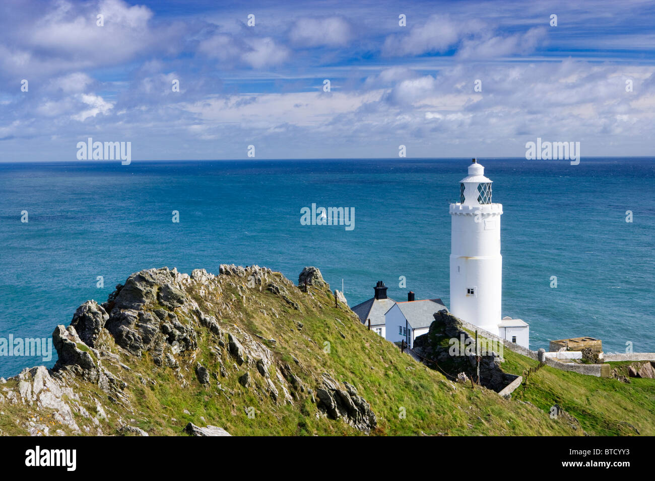 Start Point Leuchtturm in der Nähe von Salcombe, Devon, UK. Stockbild